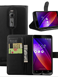 For Asus Case Wallet / Card Holder / with Stand / Flip Case Full Body Case Solid Color Hard PU Leather ASUS