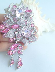 Women Accessories Silver-tone Pink Rhinestone Crystal Flower Brooch Art Deco Brooch Bouquet Women Jewelry