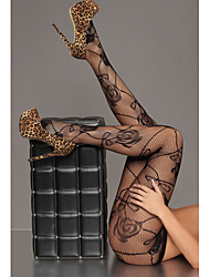 Women's Black Sheer Rose Pattern Fishnet Pantyhose