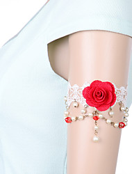 Vintage Red Rose Pearl Bracelet