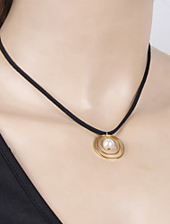 Women's Sweet Pearl Pendant Collars Short Necklaces