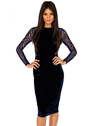 Women's Sexy/Beach/Casual/Cute/Party/Work Round Long Sleeve Dresses (Lace)