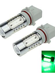2X  5 COB  LED Green  P13W PSX26W LED Bulb Non-polar  Fog Lamp Light 7.5W  AC/DC12-24V H402