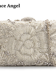 Women's Beads Rhinestone Encrusted Box Clutch Baguette Bridal Prom Evening Handbag Purse