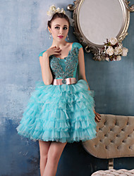 Cocktail Party Dress Ball Gown Scoop Short / Mini Tulle / Charmeuse with Beading / Lace / Sash / Ribbon