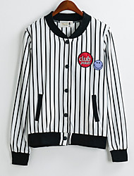 Women's Striped White Jackets , Casual/Cute Stand Long Sleeve Pocket/Button