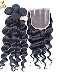 10''-30'' Unprocessed Malaysian Virgin Hair Loose Wave Hair Closure with Bundles 3 Part Closure