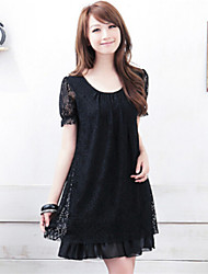 Women's Casual Inelastic Short Sleeve Above Knee Dress (Lace)