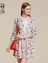 OSA Autumn Women's Fashion Three Quarter Sleeve Chiffon Print Dress SL522029