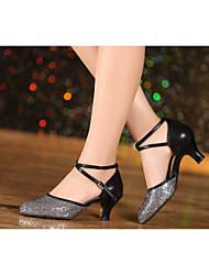 New pattern Women's Dance Shoes Belly/Latin/Samba Velvet/Sparkling Glitter/Paillette/Synthetic Cuban Heel
