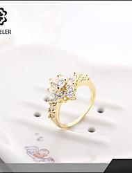 Sjeweler Girls Engagement 18K Gold Plated Zircon Ring