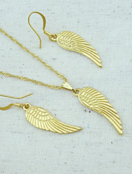 18K Golden Plated Pearl Necklace+Earrings Angel Wings Jewelry set