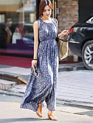 Women's Round Dresses , Cotton Blend Casual Sleeveless life