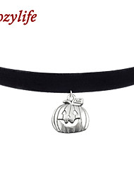 "Cozylife 3/8"" Girls Black Velvet Gothic Collar Vintage Choker Necklace with Jack-o-lantern Pendant"
