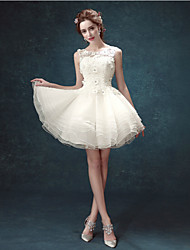 A-line Wedding Dress Short / Mini Scoop Lace with