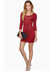 W.W.W  Women's Round Dresses , Cotton Sexy/Casual/Party ¾ Sleeve