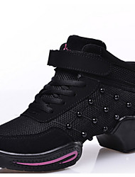 Women's Dance Shoes Sneakers Breathable Synthetic Low Heel Black/Red