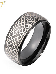 U7® Men's Punk Rings Jewelry Gifts Stainless Steel High Quality Black Gun Plated Vintage Band Rings