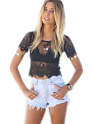 Women's Sexy Lace Cute Inelastic Short Sleeve Short  Shirt (Lace)