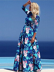 HHH Women's Vintage/Beach/Casual/Print/Party Round ¾ Sleeve Dresses (Chiffon/Polyester)