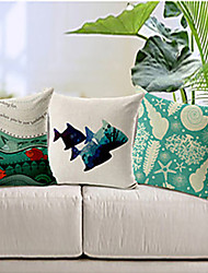 3 pcs Cotton/Linen Pillow Cover,Coastal Beach Style