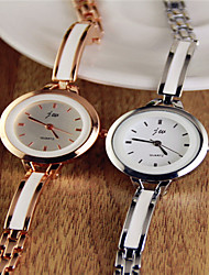 Mulheres Relógio de Moda Quartz Aço Inoxidável Banda Bracelete Branco / Dourada marca-