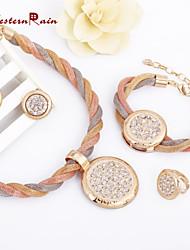 WesternRain Womens Products Fashion Jewelry set Large pendant Alloy With Elegant Rhinestone Wedding Jewelry Set