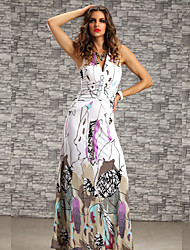Women's  Summer Print Flower With Crystal Beach Maxi Long Dress