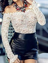 Women's Ruffled Neckline Off Shoulder Lace Crop Top