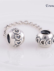 Euner® Pandora Charms Silver Heart of Safety Chain with Back 925 Sterling Silver Loose Beads Fit Thread Bracelet