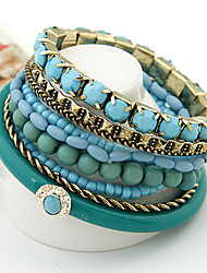 European Style Bohemian Ocean Refreshing Blue Beads Multilayer Bracelet