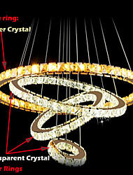 LED Pendant Lamps Ceiling Light Chandelier Lighting Round 4 Rings Large Ring Amber Crystal and Other Clear Crystal