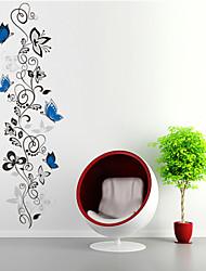 stickers muraux de style de décalcomanies de Wall Mur fleur papillon rotin PVC autocollants