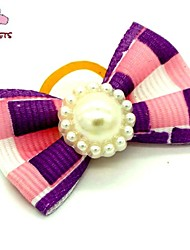 FUN OF PETS® Lovely Golden Ribbon Style Pearl Decorated Rubber Band Hair Bow for Pet Dogs  (Random Color)