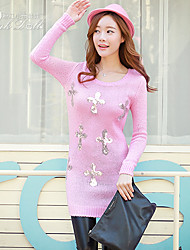 Pink Doll®Women's Casual Sequins Straight Long Sleeve Sweater Dress