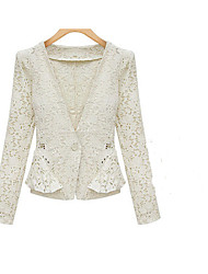 Women's Lace White/Black Sexy/Casual V Neck Long Sleeve Lace/Hollow Out