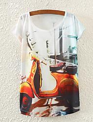 Women's Beauty Electric Car Print Loose Small Bat Sleeve T-shirt