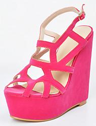 Women's Shoes Fleece Wedge Heel Wedges / Gladiator Sandals Party & Evening / Dress / Casual Pink / Red