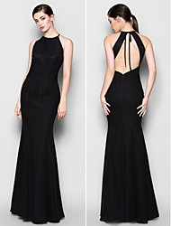 Floor-length Chiffon Bridesmaid Dress - Black Plus Sizes / Petite Trumpet/Mermaid Halter / Jewel