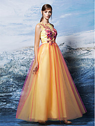 TS Couture® Formal Evening Dress Plus Size / Petite A-line Scoop Floor-length Tulle with Appliques