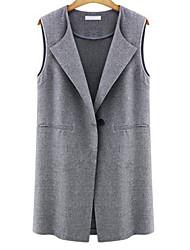 Women's Solid Black/Gray Jackets , Casual V Neck Sleeveless Pocket