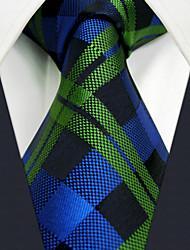 "U19 Shlax&Wing Checkered Blue Green Mens Necktie Silk Ties Business Dress 63"" Long"