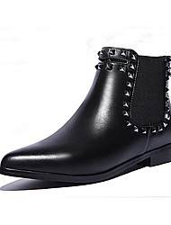 Women's Shoes Leather Chunky Heel Combat Boots Boots Office & Career/Party & Evening/Casual Black