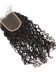 10 '' - 18 '' mode brésilienne de cheveux bouclés vierge noeuds blanchis de clsoures de dentelle suisse fermetures de dentelle libre /