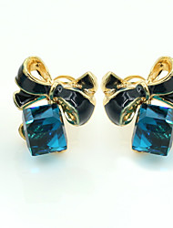 Brincos Curtos Cristal Moda Europeu Strass Chapeado Dourado 18K ouro imitação de diamante Áustria Cristal Azul Jóias Para 2pçs