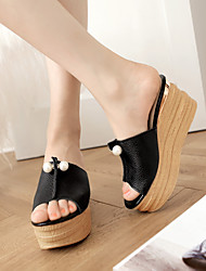 Women's Shoes  Wedge Heel Wedges/Open Toe Slippers Dress Black/Red/White/Silver