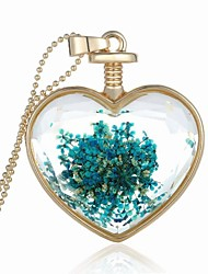 Party/Casual Alloy/Acrylic Plant Specimen Heart Shape Pendant Necklace