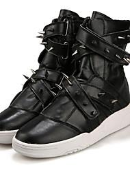 Черный Белый-Мужской-Для офиса Повседневный-Дерматин-На плоской подошве-Удобная обувь Теплая зимняя обувь Ботинки Модная обувь