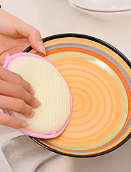 Round Dual Sided Pan Scrubber Sponges Pot Dishwash Cloth Pad (Random Color)