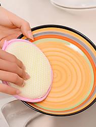 Round Dual Sided Pan Scrubber Sponges Pot Dishwash Cloth Pad (Random Color)